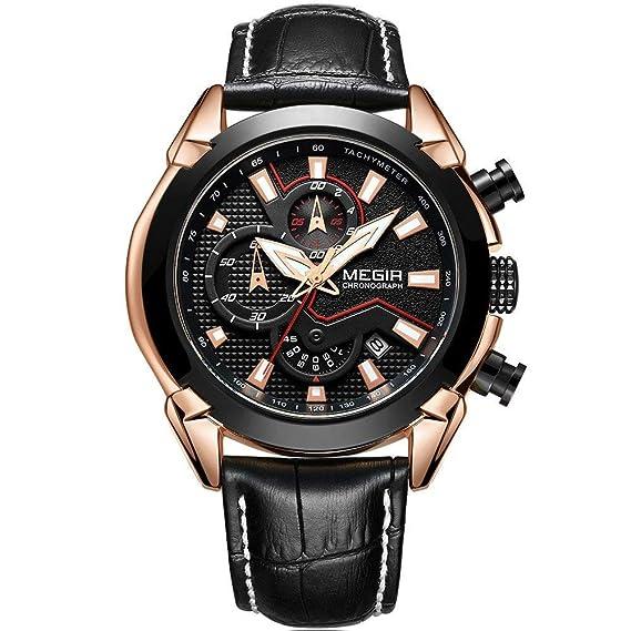 Megir - Reloj de Pulsera para Hombre con cronógrafo Deportivo de Cuarzo y Correa de Piel Negra: Amazon.es: Relojes