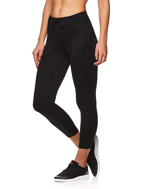 Reebok Womens Capri Workout Leggings w/Mid-Rise Waist - Cropped Performance Compression Tights - Momentum Black, Medium