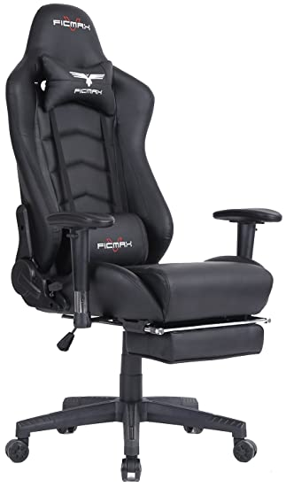 Ficmax Ergonomic High Back Large Size Office Desk Chair Swivel Black PC Gaming With