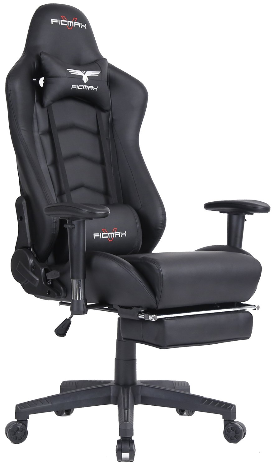 Ficmax Ergonomic High-back Large Size Office Desk Chair Swivel Black PC Gaming Chair with Lumbar Massage Support and Retractible Footrest by Ficmax