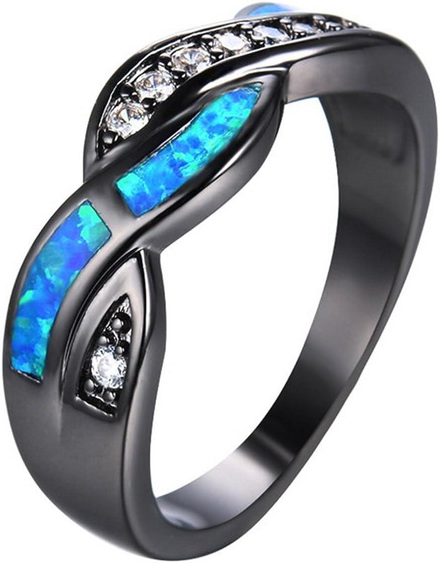 SMILELY Blue Fire Opal Diamond Cross Rings Vintage Black Gold Filled Zircon Ring Wedding Jewelry