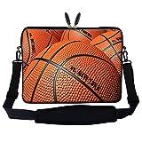 Meffort Inc 15 15.6 inch Neoprene Laptop Sleeve Bag Carrying Case with Hidden Handle and Adjustable Shoulder Strap - Basketball