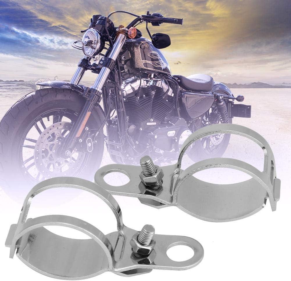 Yctze 2 St/ück Blinkerhalterung,Motorrad Stahlblech Blinkerhalterung passend f/ür 30-45mm Vorderradgabel Roller black