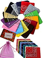 BS® 12pcs 22*22 Inch 100% Cotton Novelty Double Sided Print Paisley Cowboy Bandanas