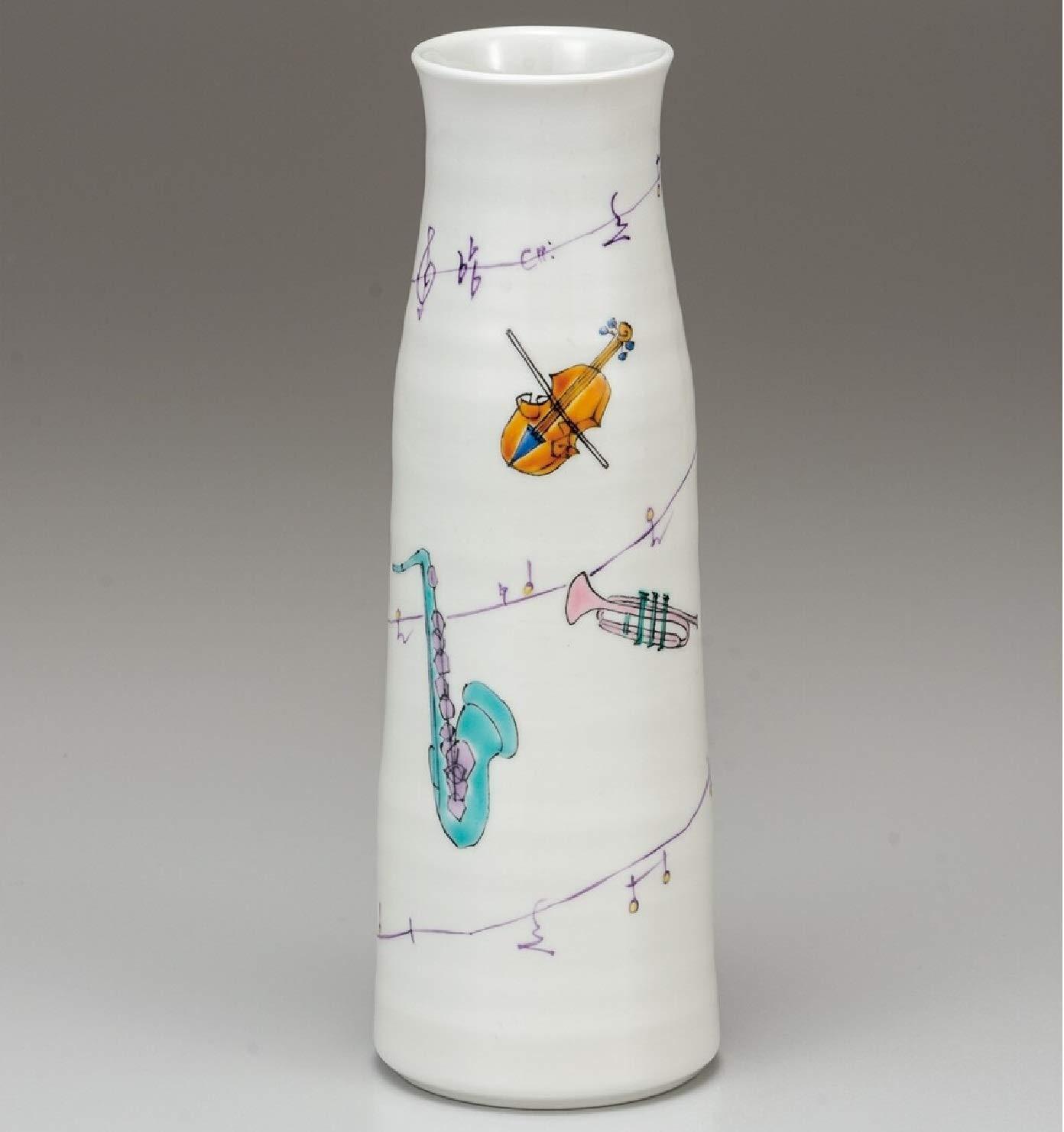 九谷焼 8号寸胴花瓶 メロディー B07SRGQ69L