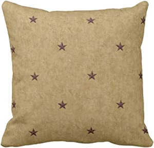 Emvency Throw Pillow Cover Rustic Americana Primitive Country Christmas The Holidays Decorative Pillow Case Home Decor Square 18 x 18 Inch Pillowcase