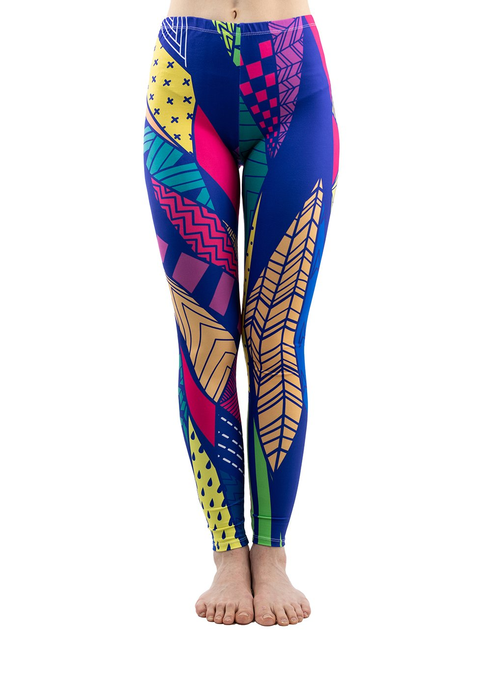 PINK PLOT Women's Yoga Gym Popular Printed Buttery Soft Leggings Fashion Thin Pants 20+Colors (Colorful Patches, One Size-Fit XS-L)