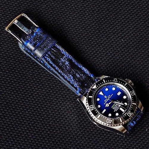 Custom 22mm Handmade Premium Calf Leather Watch Band Gunny Straps - Blue Blackbay