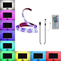 Gluckluz LED Strip Decorative Light Kit, Strips Lights 1M Multicolor Lighting RGB Cuttable with 44 Key Remote Control for Flat Screen TV LCD Desktop PC Wedding Festival Holiday (USB Operated)