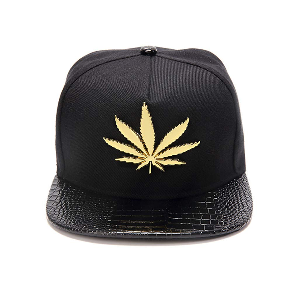 MCSAYS Hip-Hop Fashion PU Leather Flat Brim Snapback Hat Marijuana Weed Leaf Cotton Baseball Cap at Amazon Mens Clothing store: