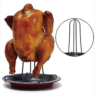 Asador de pollo vertical con base antiadherente recoge salsa para barbacoas hornos, asados leña en su punto de OPEN BUY: Amazon.es: Hogar