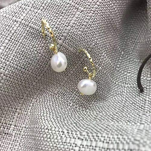 Matte Gold Color Freshwater Pearls Coin Hoop Earrings for Women Baroque Double Circle Earrings Hanging Charms Earrings (Charm Hoop Double)
