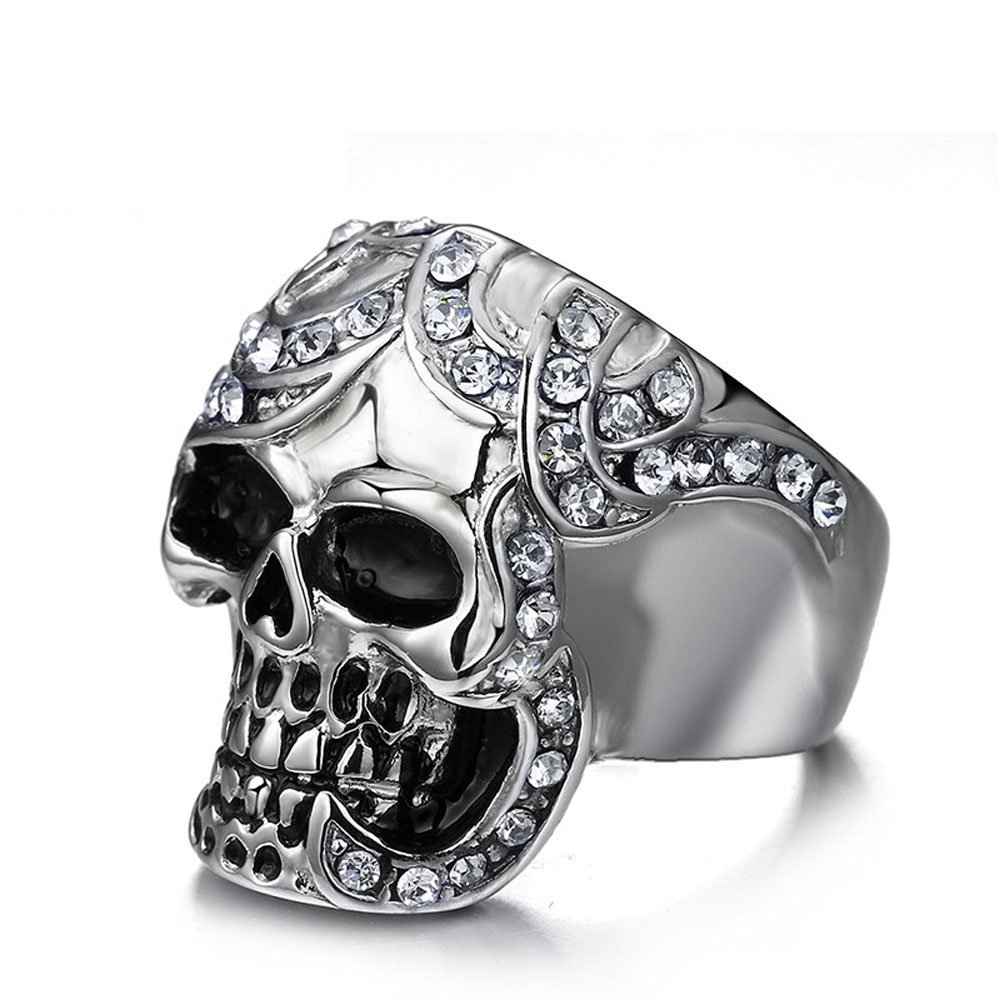 Vintage Gothic Sterling Silver Biker Stainless Steel Sugar Skull Ring for Men Size 8-12 Everrich ER300015-01