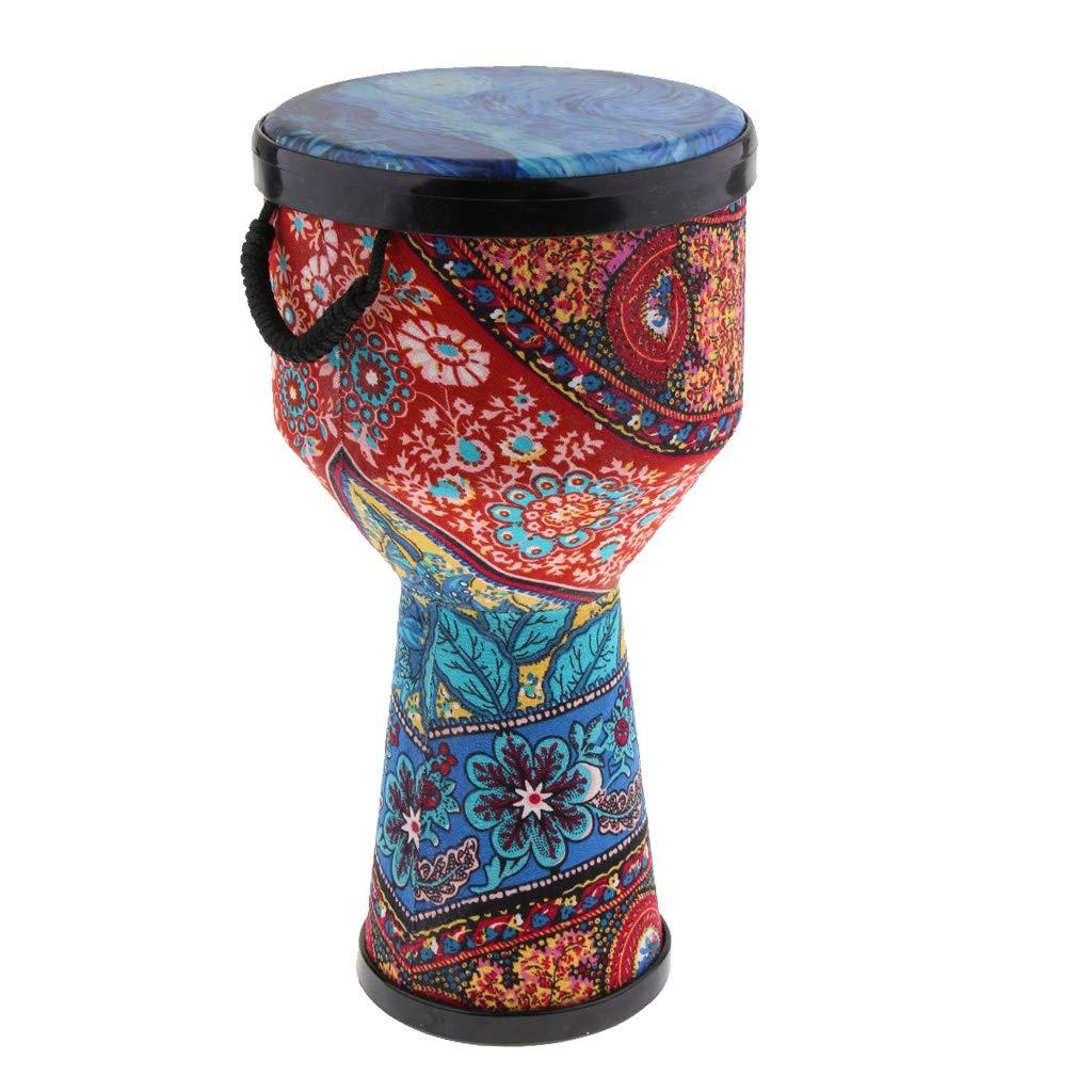 Perfeclan Holz Mini Djembe Afrikanische Trommel Bongo-Handtrommel Musikinstrument 8 Zoll