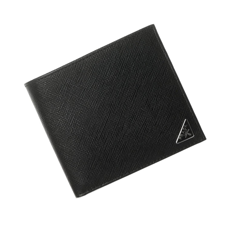 8d85aded9e25 メンズ二つ折り財布(小銭入れ付き)SAFFIANO TRIANG/2MO738 QHH ブラック [並行輸入品] B07DG3PVKX [PRADA( プラダ)]-財布