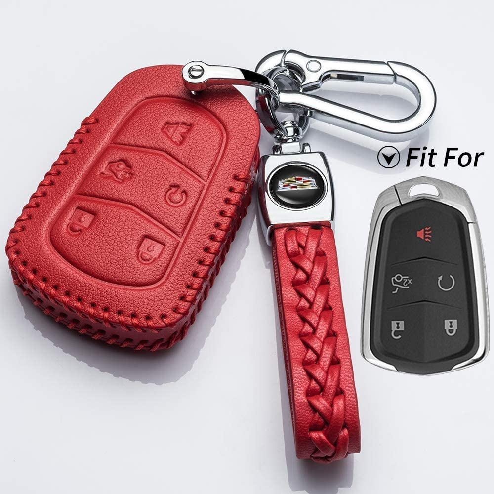 Leather Remote Case Car Key Bag Cover for Jaguar 5 Buttons Smart Key Luxury Genuine Hand Sew Red Line 1PC