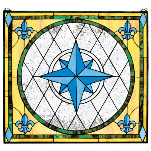 (Stained Glass Panel - Nautical Compass Rose Stained Glass Window Hangings - Window Treatments)