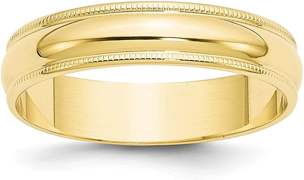 Solid 10k Yellow Gold 5mm Milgrain Half Round Wedding Band