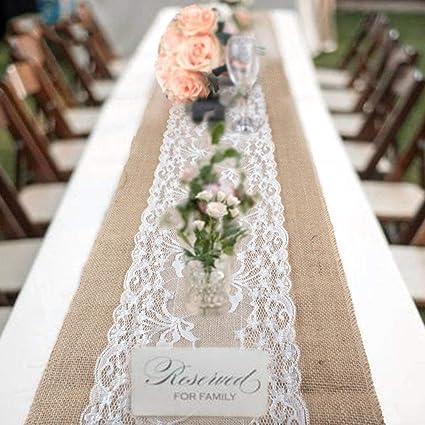 Amazon Com Burlap Lace Table Runner For Weddings 12x108 Hessian