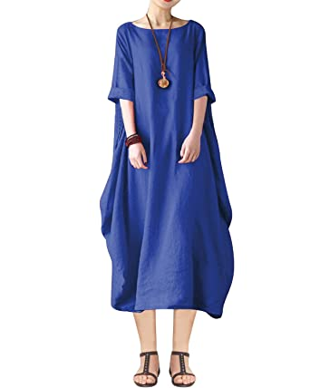 d9d120f3f4e1d BONESUN Women Plus Size Batwing Linen Cotton Loose Kaftan Casual Dress at  Amazon Women s Clothing store