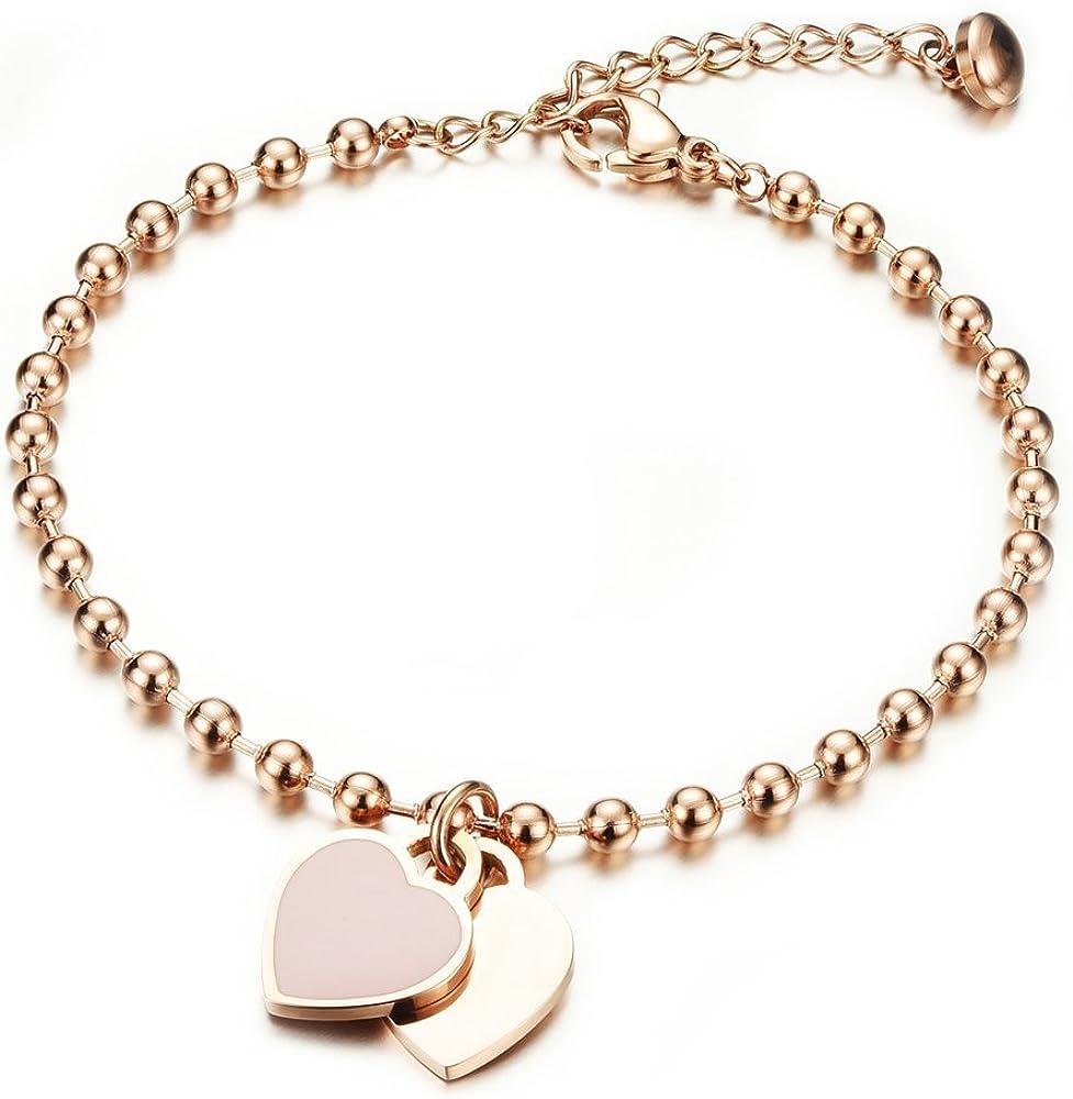 Onefeart Oro de Rose Plateado Pulsera para Mujeres Chicas Señoras Estilo Dulce Amor Corazón Diseño 21CM Oro Rosa