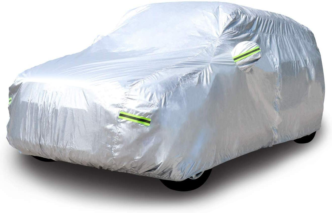 Basics Silver Weatherproof Car Cover 150D Oxford Sedans up to 190