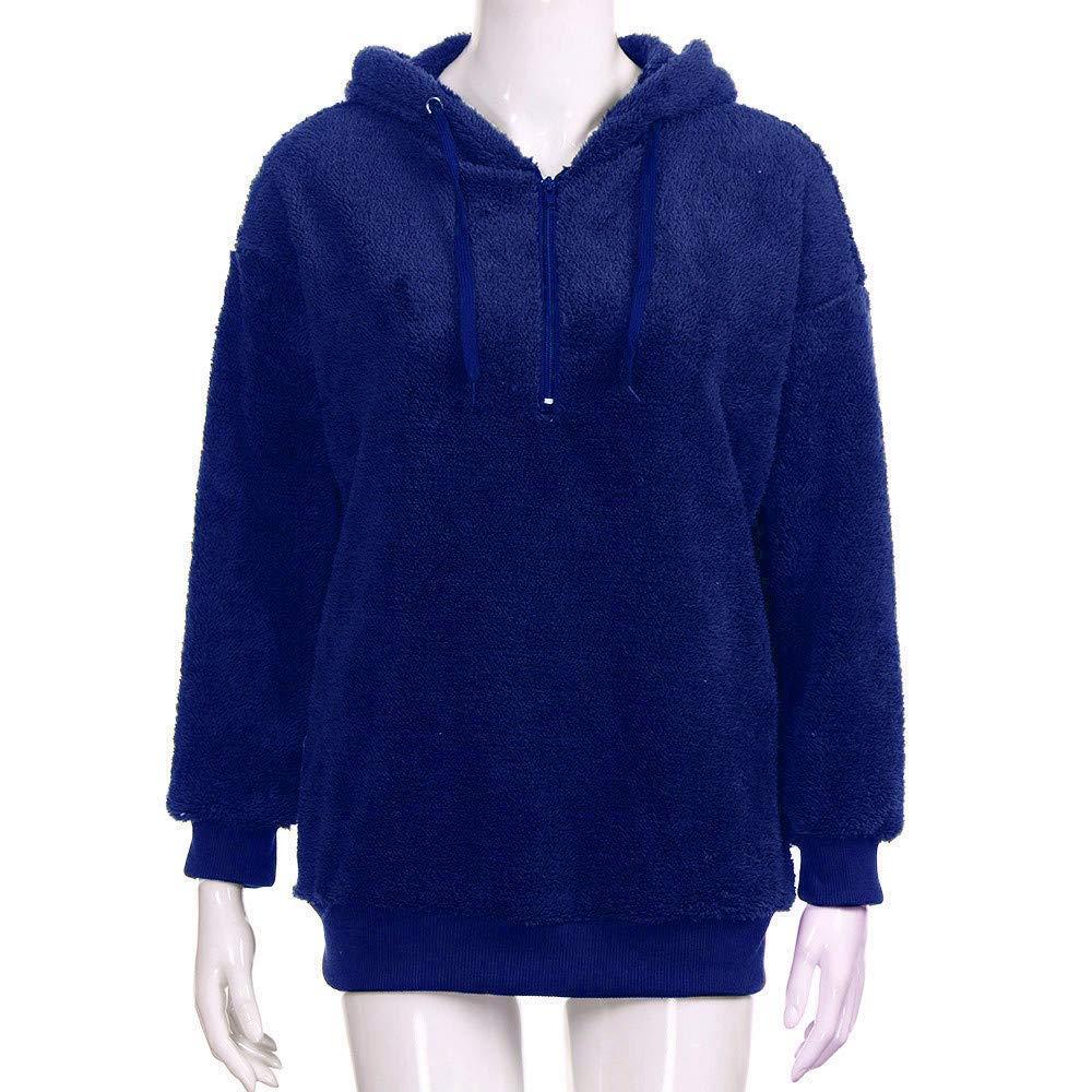 iHENGH Damen Herbst Winter Bequem L/ässig Mode Jacke Frauen Kapuzen Sweatshirt Mantel Winter Warme Wolle Rei/ßverschlusstaschen Baumwollmantel Outwear