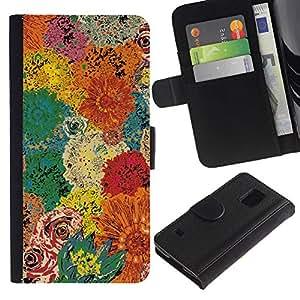 Billetera de Cuero Caso Titular de la tarjeta Carcasa Funda para Samsung Galaxy S5 V SM-G900 / Floral Vintage Colors / STRONG
