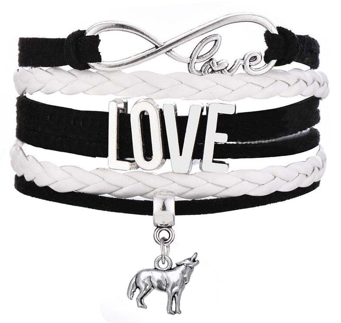 Lemegeton Hot Sale Multilayer Rope Bracelet Infinity Love Wolf Charm Handmade Jewelry Christmas Gifts (Black)
