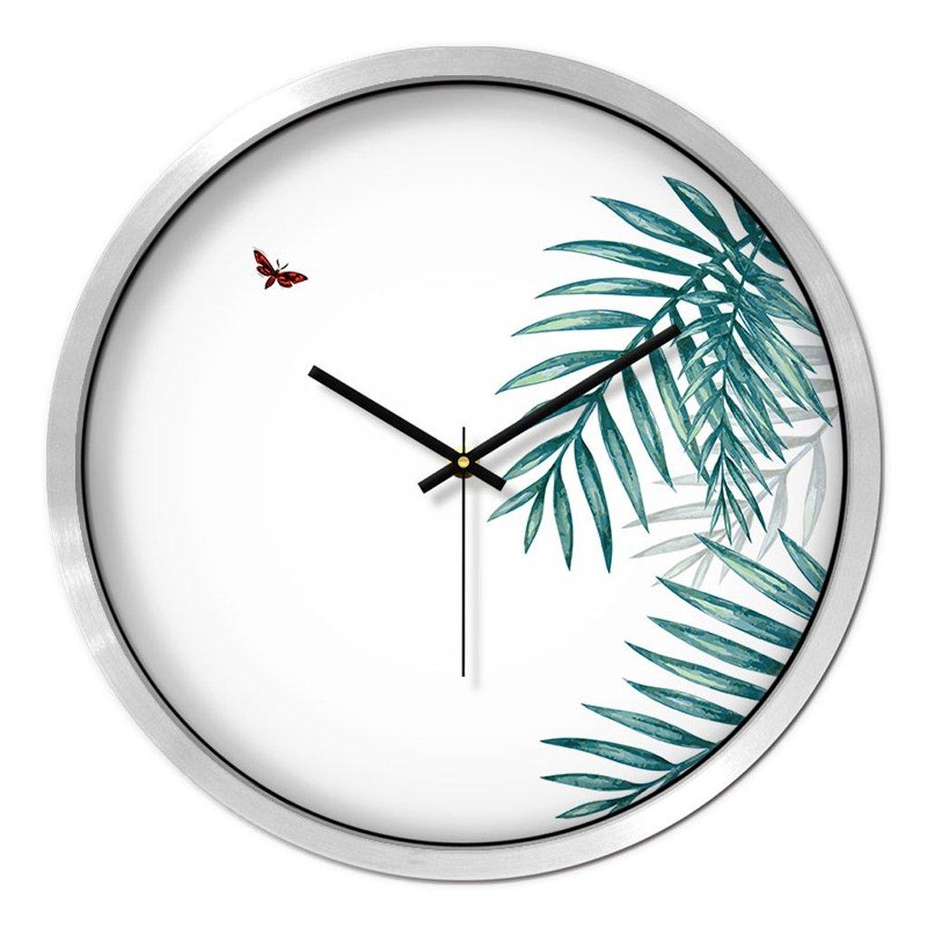 掛け時計 ウォールクロックリビングクリエイティブベッドルームミュートラウンドモダンパーソナリティファッションシンプルな時計のホームテーブル Rollsnownow (色 : シルバー しるば゜, サイズ さいず : 12インチ) B07BK51G2Sシルバー しるば゜ 12インチ