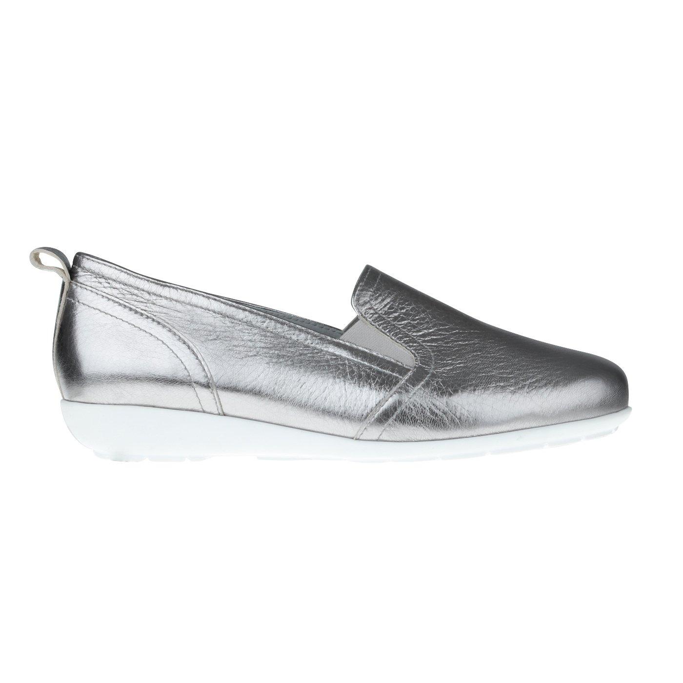 Tessamino in Damen Slipper aus Hirschleder in Tessamino Metallic Optik | modisch | Weite H | für Einlagen Silber 1e29ad