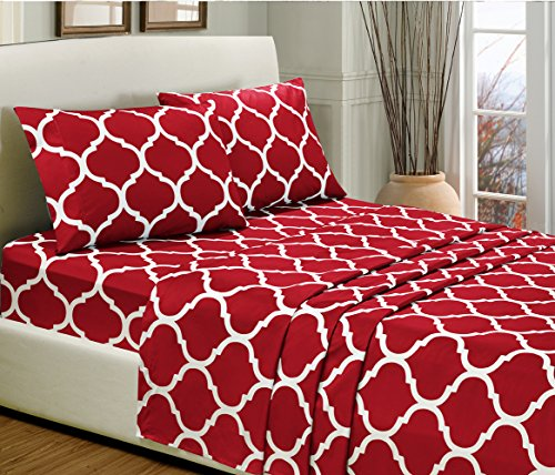 4-Piece KING size, BURGUNDY RED Quatrefoil Print Bed Sheet Set-Super Soft-High Thread Count Double Brushed Microfiber-1500 HOTEL LUXURY Series -SALE-Wrinkle, Fade, Stain Resistant - Deep Pockets