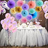 Mint Purple and Pink Paper Flower Fans Pom Poms For Baby Shower Unicorn Birthday Girls Party Decorations Supplies