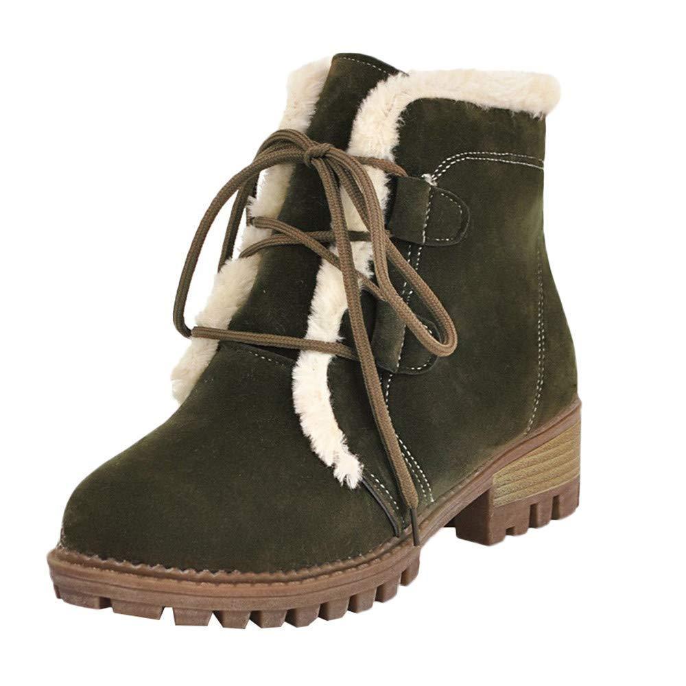 ZHRUI damen Warm Freizeit Plus SAMT Schuhe Warm Warm Lace-Up Rutschfeste Runde Kappe Schneestiefel (Farbe   Grün, Größe   5.5 UK)