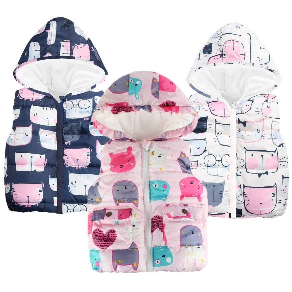 Londony ♪❤ Little Girls Toddler Baby Cat Print Vests Outerwear Hoodie Jacket Lightweight Cute Floral