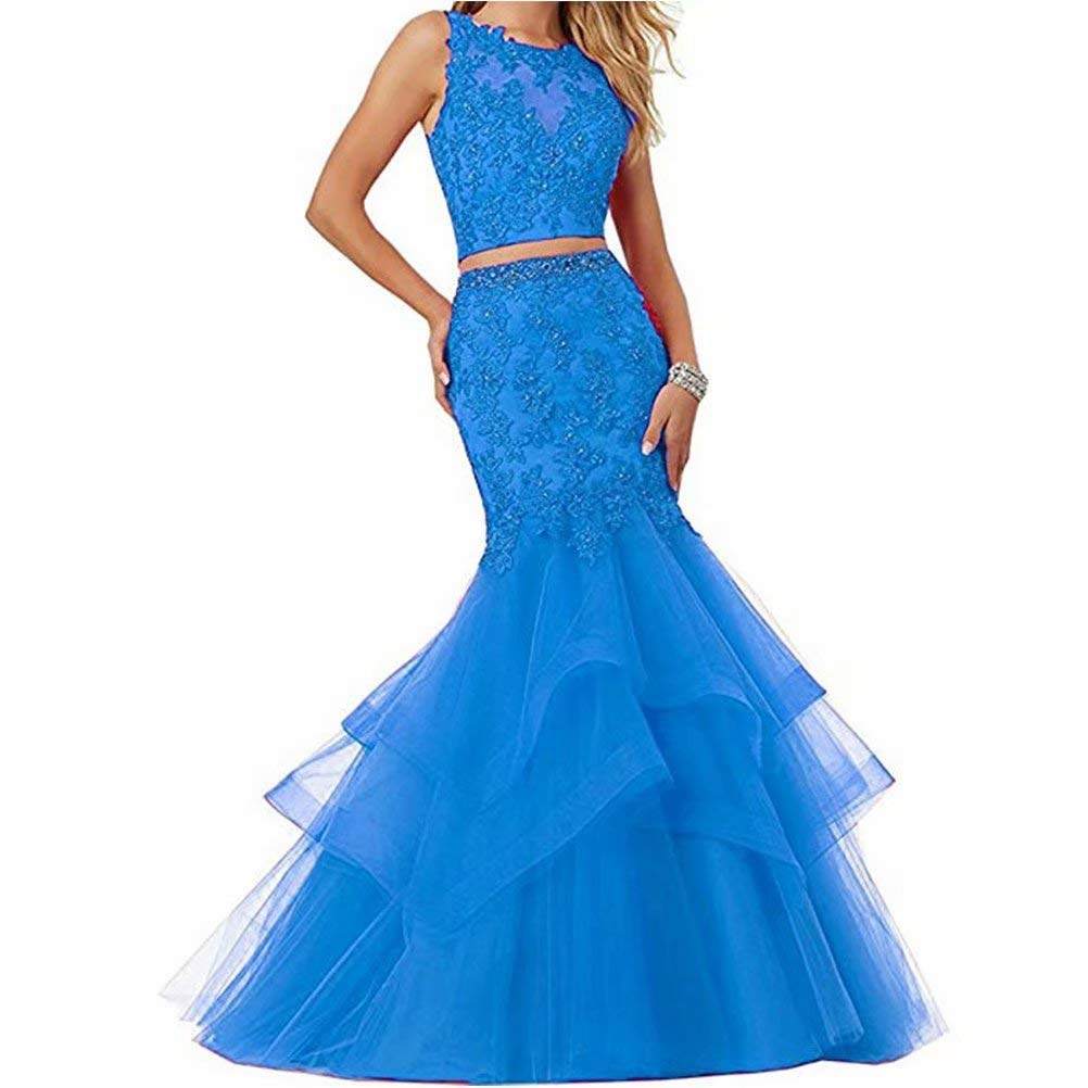 bluee Unions Women's Two Pieces Mermaid Tulle Applique Prom Party Dresses Long Formal Evening Gown