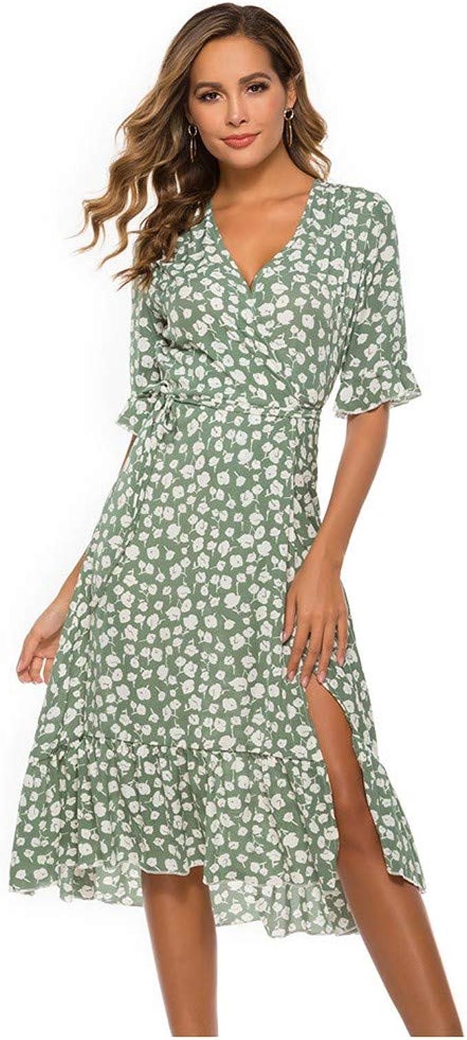 Damen Sommer V-Ausschnitt Holiday Print Kleid Halbarm Party