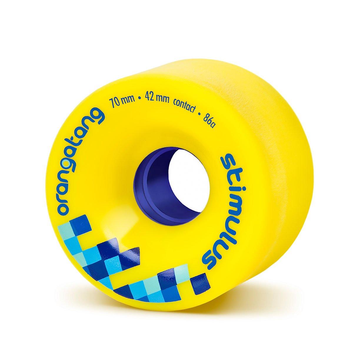 Orangatang Stimulus 70 mm 86a Freeride Longboard Skateboard Wheels w/Loaded Jehu V2 Bearings (Yellow, Set of 4) by Orangatang
