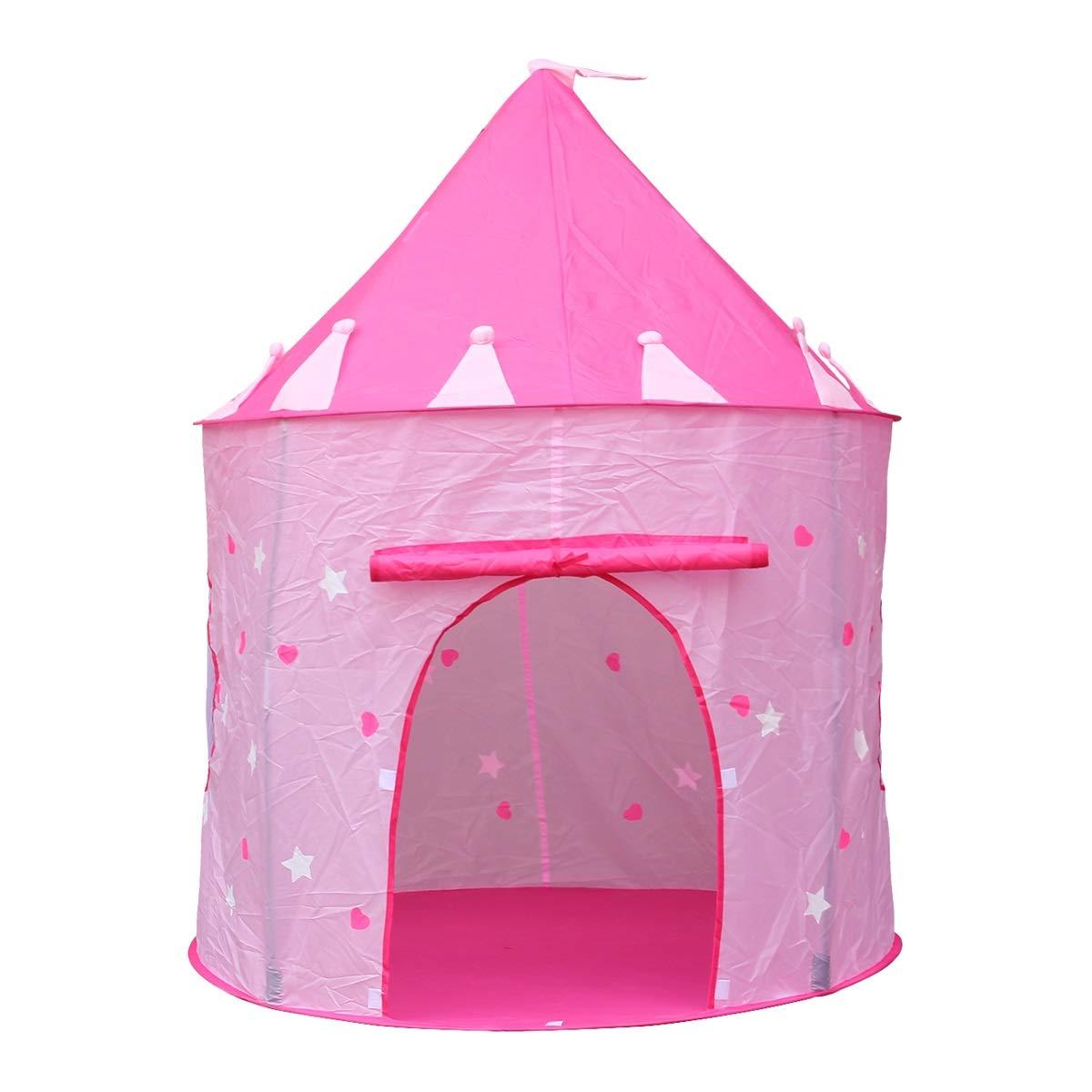 Jueven ピンクプレイテントプリンセスキャッスル、ポップアップピンクテント/家庭用おもちゃ屋内&屋外用 B07G71W4Q8