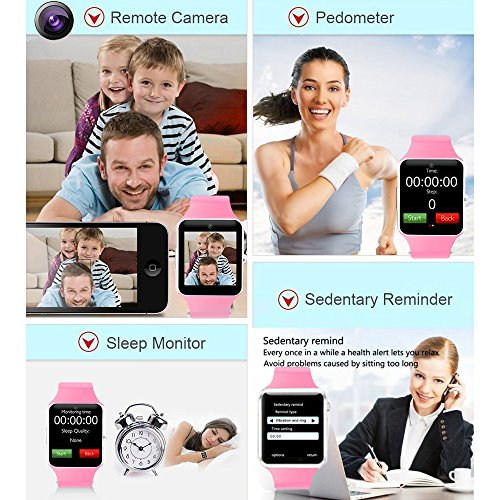 COSROLE Bluetooth Smart Watch, A1 Touch Screen Smart Wrist Watch with 8GB SD Card & Two Batteries & Screen Protector for Samsung Xiaomi Huawei Sony HTC LG Android Smartphones - Pink by COSROLE (Image #2)'