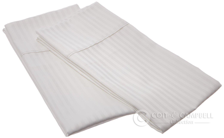 Coit & Campbell Premium Hotel Collection 100% Cotton Sateen Pillow Case (2pcs) (White, 500 TC (1CM) - Standard)