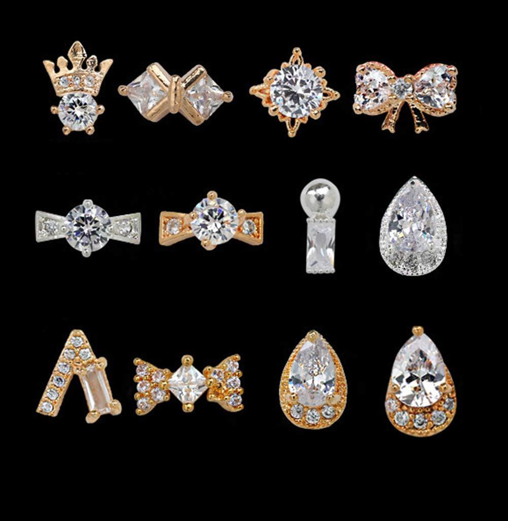12 PCS Multiple Styles Zircon Gold-Plate Handmade Crystal 3D Nail Art Rhinestones Charms Gems Stones Decoration Craft Jewelry DIY by Skyvan
