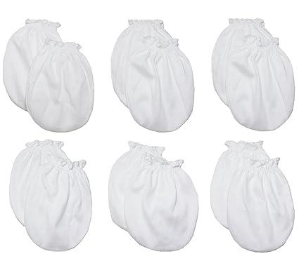 6 pares de mitones anti-arañazos para bebés - recién nacidos hasta 3 meses - 100% algodón