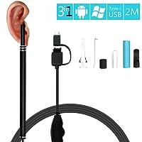 Hinmay - Limpiador de oídos endoscopio, 3 en 1, herramienta para quitar ceras de audio, 1,3 megapíxeles, HD, cámara impermeable con 6 luces LED ajustables, cuchara endoscopio para oreja para OTG Android Micro USB PC