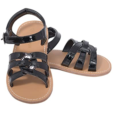 42e370f1d L Amour Patent Black Woven Strap Summer Sandals Little Girls 1