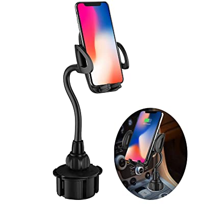 Car Cup Phone Mount,Adjustable Gooseneck Cell Phone Holder with 360° Rotatable Cradle for iPhone 11 / Xs/Max/X/XR/8 Plus /7 6 Samsung Galaxy S10/S9/ S8 Note 9 Nexus Sony and All Smartphones