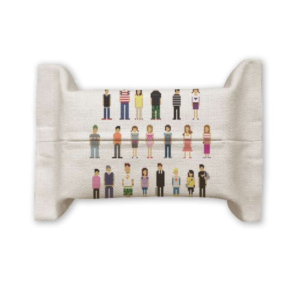 DIYthinker Game Characters Pairs Pixel Cotton Linen Tissue Paper Cover Holder Storage Container Gift