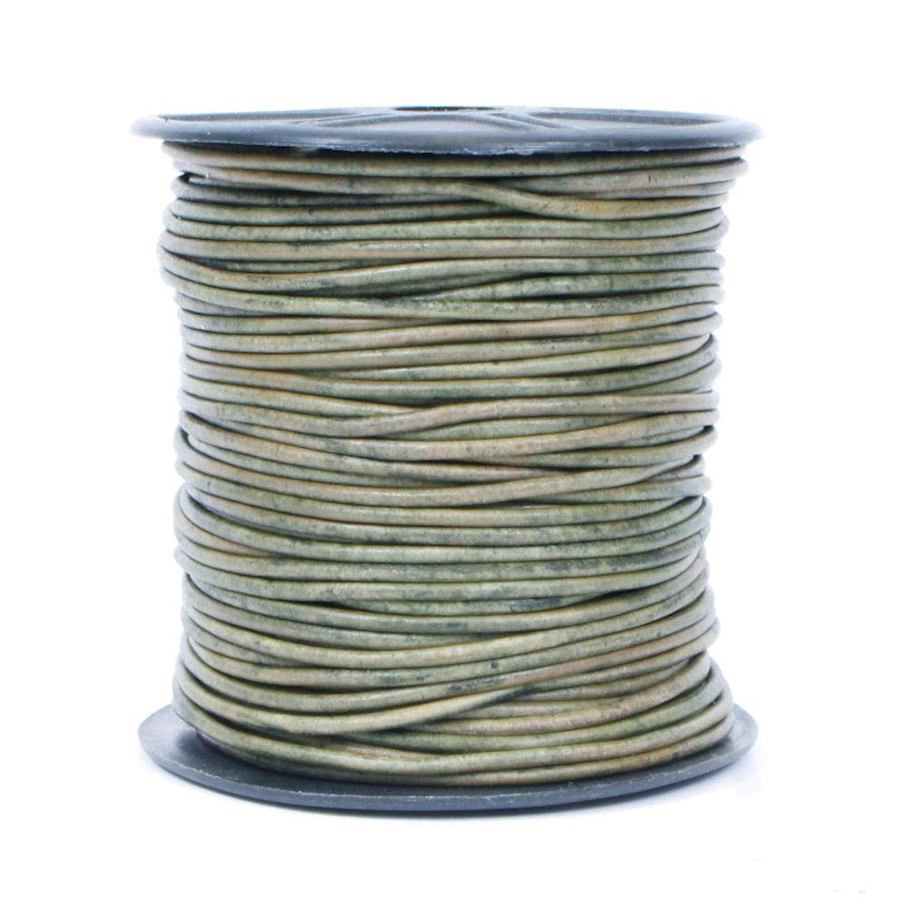 10 Meter Spool Splice Free Leather Cord USA Premium Round Leather Cord Genuine Leather 2mm 408 Natural Dark Green 11 yd Ideal for Jewelry