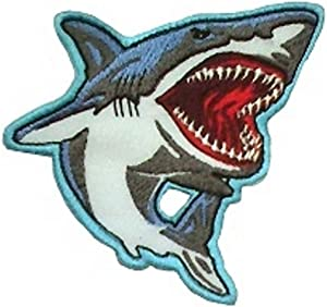 Shark Furious Ferocious Great White Attack - Embroidered Iron On Or Sew On Patch