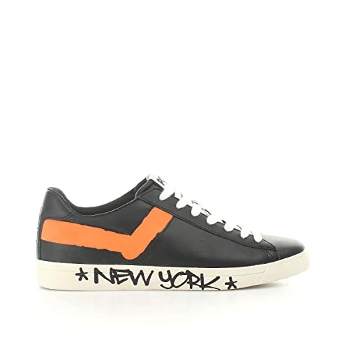 Sneaker Pony New York en Piel Negra y Naranja: Amazon.es: Zapatos y complementos